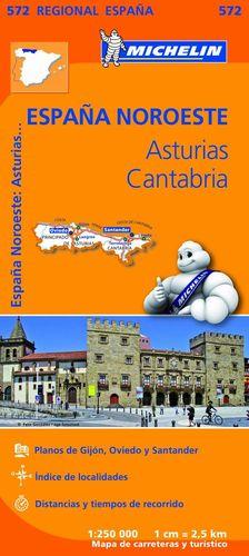 ASTURIAS - CANTABRIA, MAPA REGIONAL Nº 572 - ESPAÑA NOROESTE