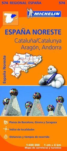 CATALUNYA - ARAGON - ANDORRA, MAPA REGIONAL Nº 574 - ESPAÑA NORESTE