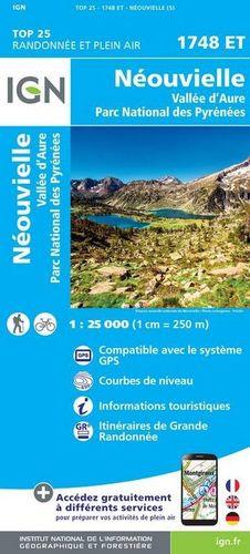 NEOUVILLE - VALLE D'AURE, CARTE IGN TOP 25 - RANDONNE ET PLEIN AIR