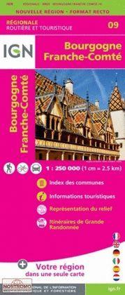 BOURGOGNE, FRANCHE-COMTE, CARTE 09 IGN REGIONALE