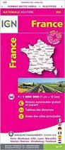 FRANCE, MAPA 955 IGN NATIONALE ROUTIERE RECTO-VERSO PLASTIFIEE