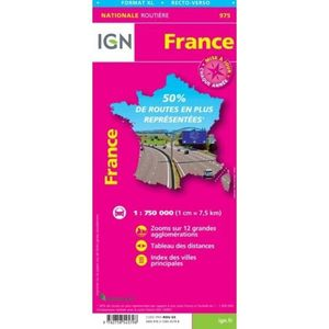 FRANCE, MAPA 975 IGN NATIONALE ROUTIERE FORMAT XL RECTO-VERSO