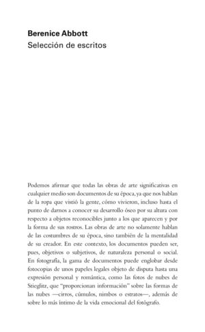 BERENICE ABBOTT: SELECCIÓN DE ESCRITOS