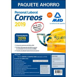 PAQUETE AHORRO PERSONAL LABORAL CORREOS (INCLUYE TEMARIOS 1 Y 2; SIMULACROS DE EXAMEN 1 Y 2; PSICOTÉCNICO Y ACCESO A CAMPUS ORO)
