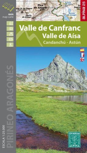 VALLE DE CANFRANC - VALLE DE AÍSA - CANDANCHÚ, ASTÚN, MAPA Y GUÍA EXCURSIONISTA