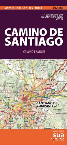 CAMINO DE SANTIAGO - CAMINO FRANCÉS, MAPA DE LA RUTA A PIE Y EN BICI