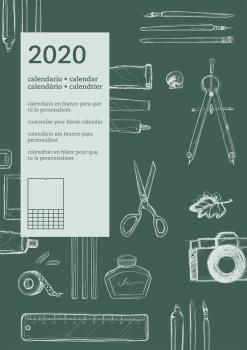 CALENDARIO 2020 INTERNACIONAL PARED DIY - CASTELLANO, INGLÉS, PORTUGUÉS, FRANCÉS