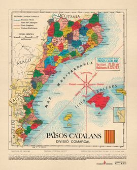 PAÏSOS CATALANS -  DIVISIÓ COMARCAL, MAPA MURAL